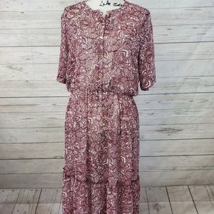 Who What Wear Boho Maxi Red & White Floral Dress